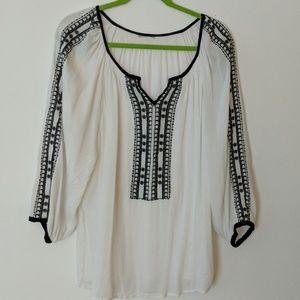 Black & White Peasant Blouse _ Size 16